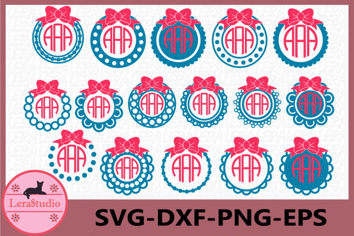 Frame Svg, Monogram Frames SVG, Monogram svg, Bow svg,Circle