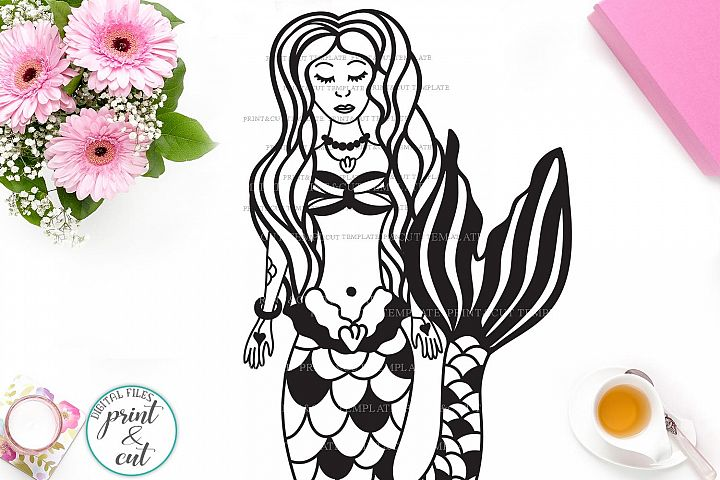 Hand Drawn Zentagle Mermaid svg dxf cutting file