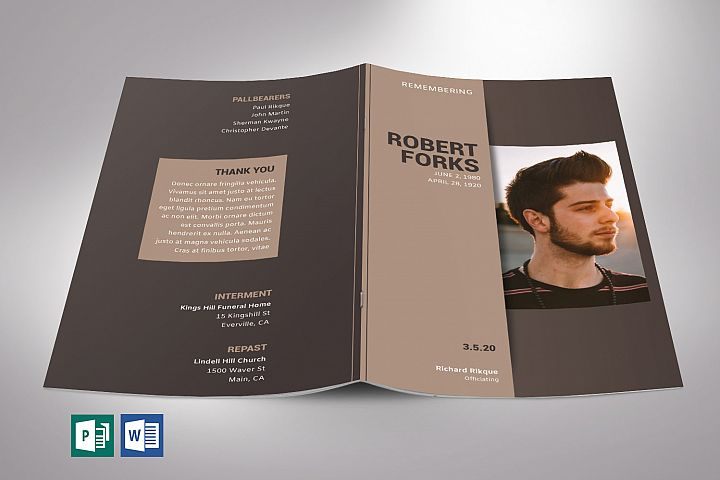 Brown Funeral Program Word Publisher Template | 8 Pages