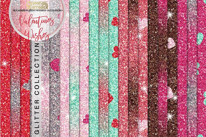 Valentines seamless Glitter backgrounds