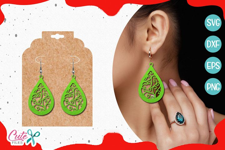 Earrings templante SVG cut file