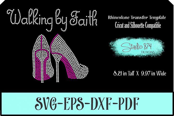 Faith Rhinestone SVG Template - Walking By Faith