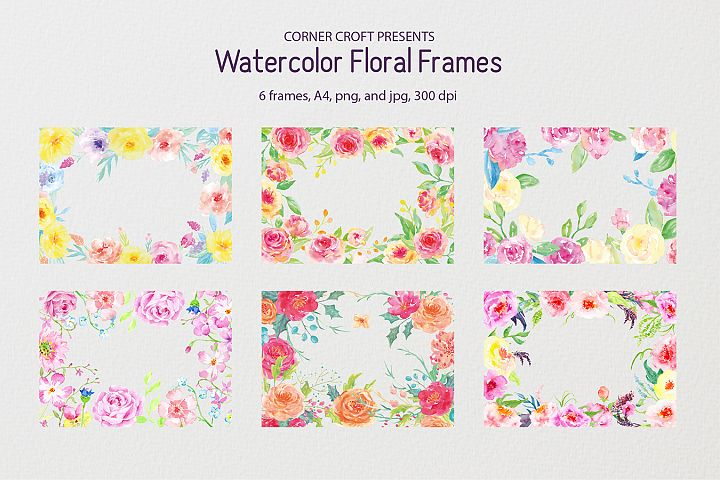Watercolor floral frames - 8 x 11.5 - A4