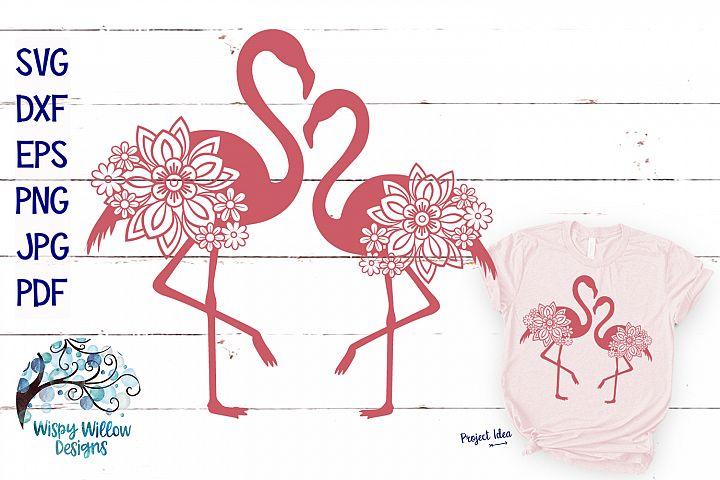 Double Floral Flamingo SVG Cut File | Summer SVG