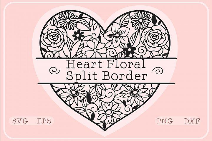 Heart Floral Split Border- Monogram SVG Cut file