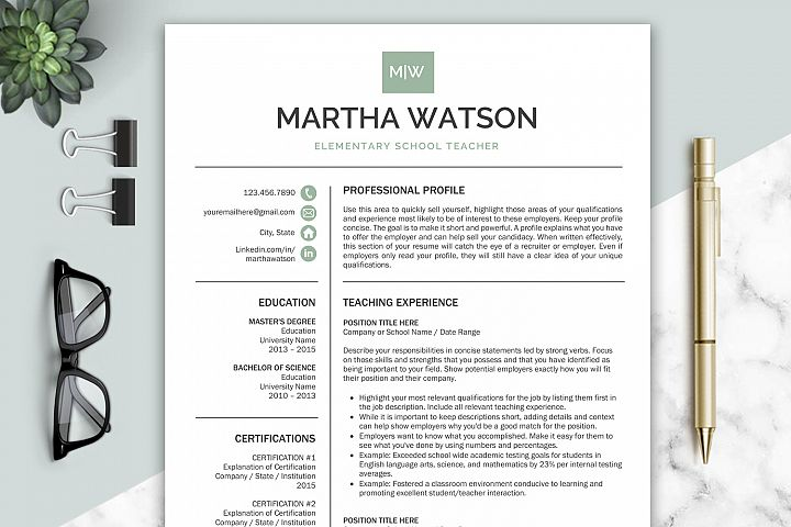 Teacher Resume Template / CV Templates