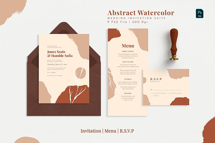 Abstract Watercolor Wedding Suite