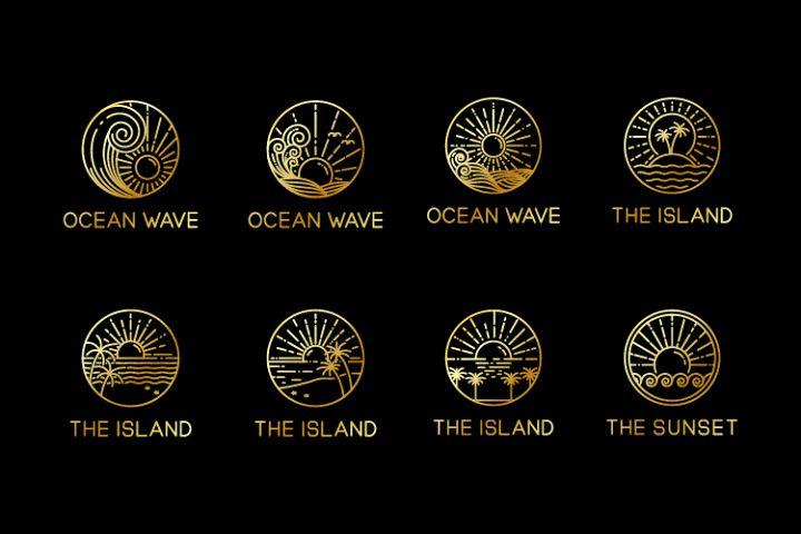 logo of tropical island design monoline