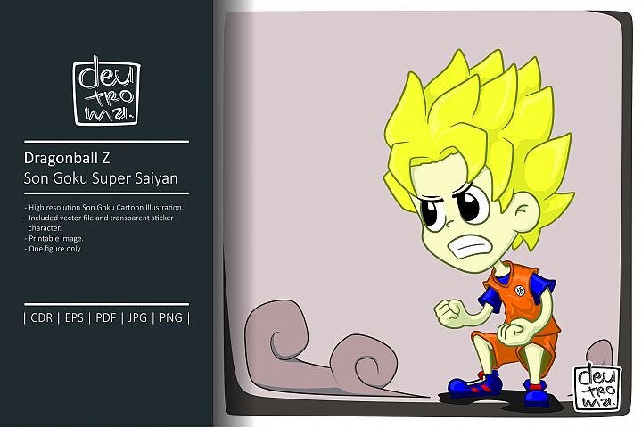 Dragonball Z Son Goku Cartoon Illustration Vector
