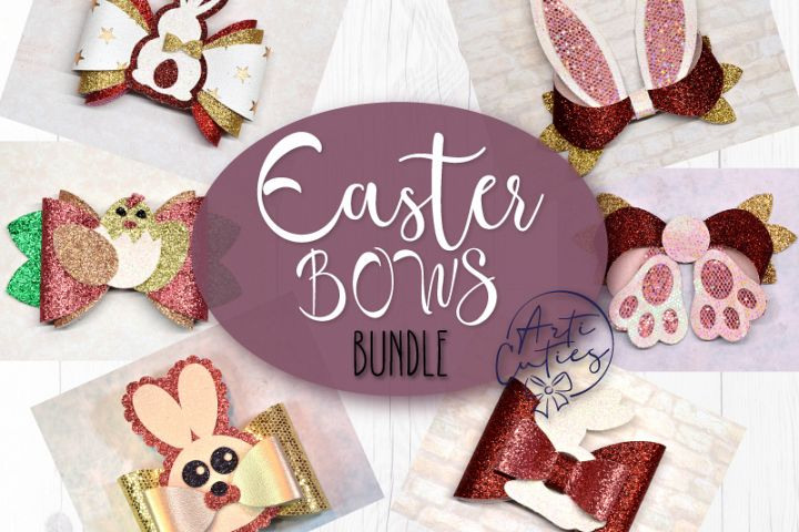 Easter bow template SVG bundle, 7 love bow template