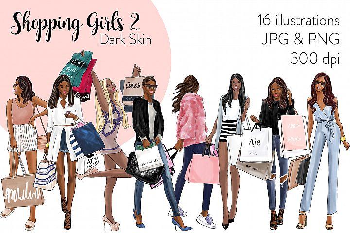 Fashion illustration clipart - Shopping Girls 2 - Dark Skin