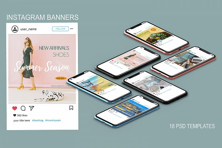 18 Instagram Sale & Multipurpose Banners - PSD Templates