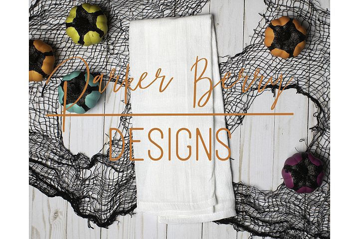 Blank Linen Kitchen Towel Halloween Mock up, pumpkins web