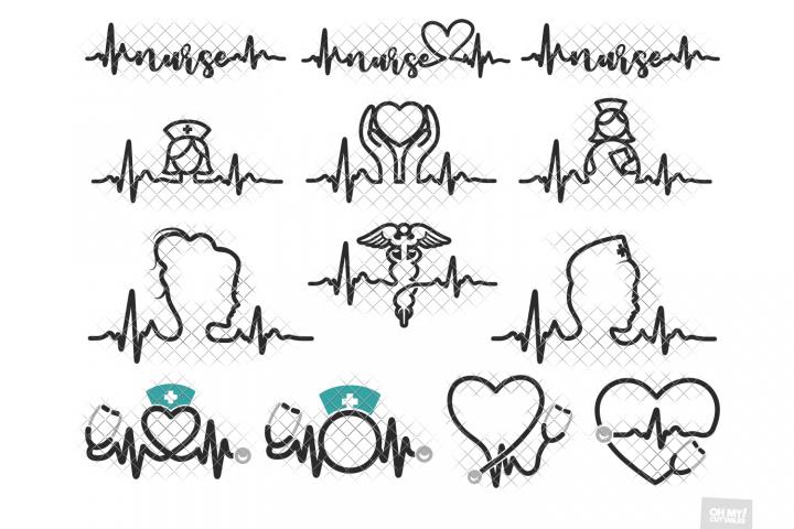 Nurse Heartbeat SVG Monogram in SVG, DXF, PNG, EPS, JPG