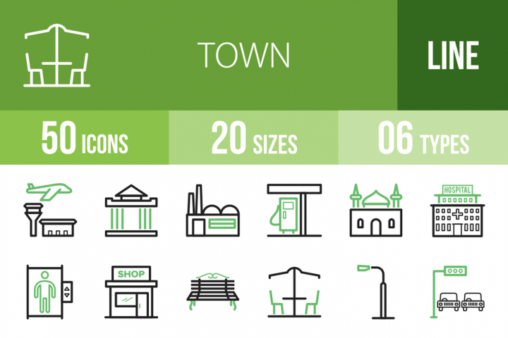 50 Town Line Green & Black Icons
