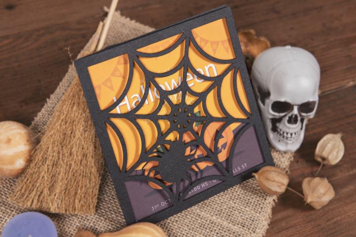 Spider Web Halloween Invitation cutting file