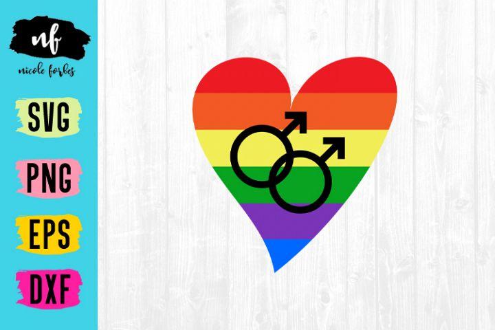 Gay Pride Heart SVG Cut File