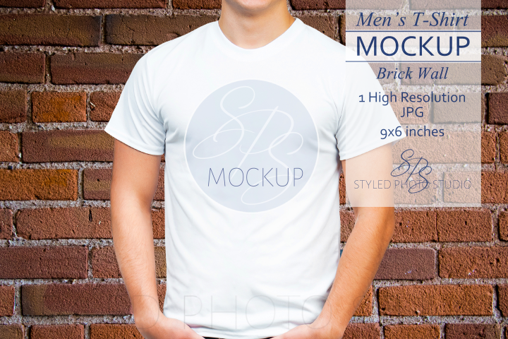 Mens Shirt Mockup Brick Wall 3.2 Aspect Ratio