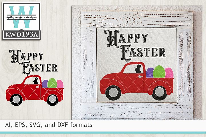 Easter SVG - Vintage Red Truck