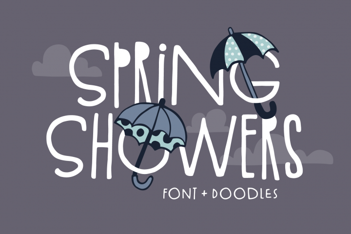Spring Showers Font and Doodles