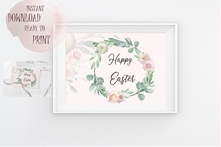 Happy Easter Printable Floral Watercolor