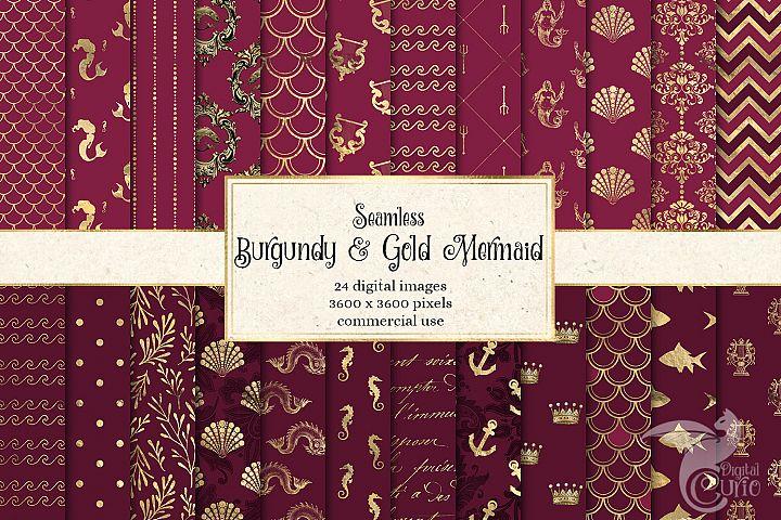 Burgundy and Gold Mermaid Digital Paper