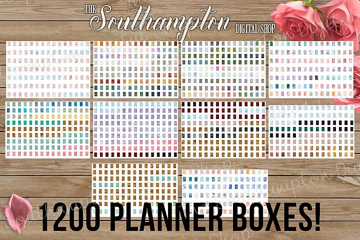 1200 Watercolour 1.5 x 2.25 Planner Boxes