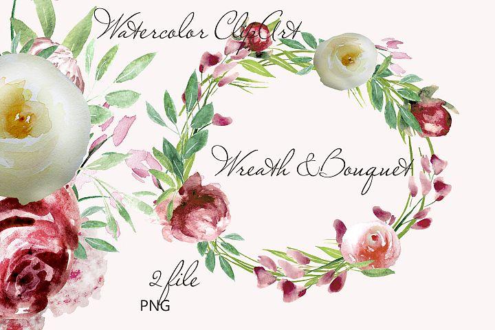 Watercolor Rose clipart Bordo ivory floral invite decor