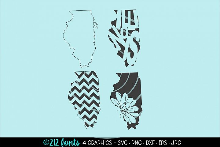 4 - Illinois State Map Graphic Cut File DXF PNG JPG SVG EPS