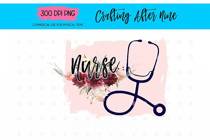 Nurse Floral Sublimation Designs, RN LPN Sub Transfer