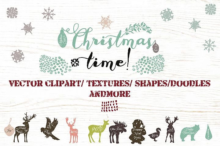 Christmas vector clip art and textures bundle