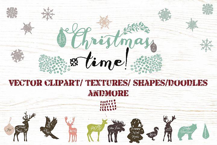 Christmas vector clip art and textures bundle