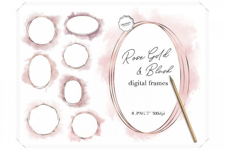 Rose Gold and Blush Pink Watercolor Polygonal Circle Frames