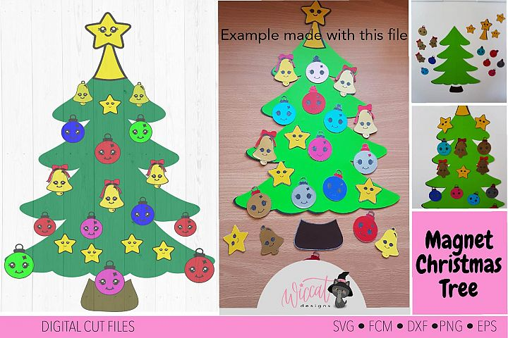 Christmas Kawaii tree, Kawaii Ornaments svg