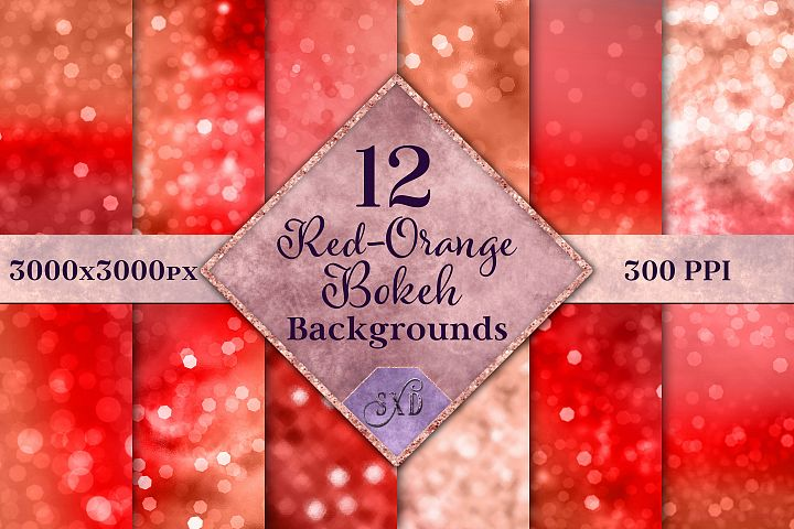 Red-Orange Bokeh Backgrounds - 12 Image Textures Set