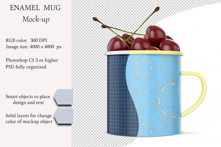 Enamel mug mockup. Product place. PSD object mockup.