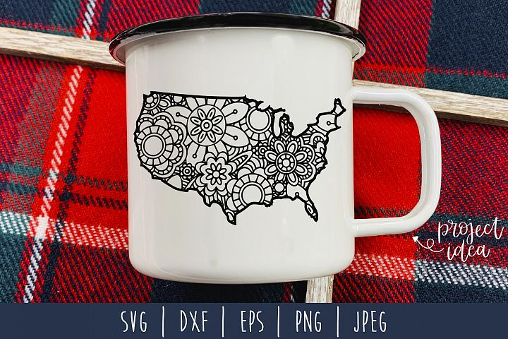 United States Mandala Zentangle SVG, DXF, EPS, PNG, JPEG