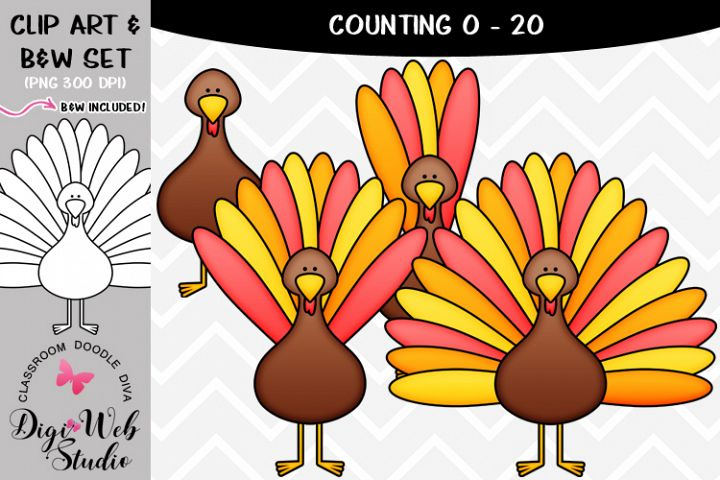 Clip Art / Illustrations - 0-20 Counting Turkey Feathers
