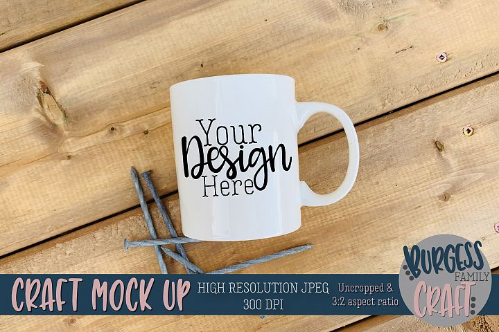 Mug wood nails Craft mock up|High Resolution JPEG