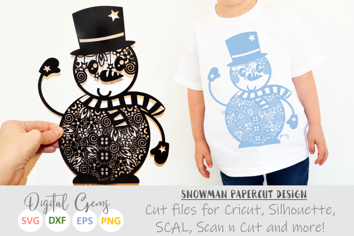 Snowman, zentangle papercut design. SVG / PNG / EPS / DXF