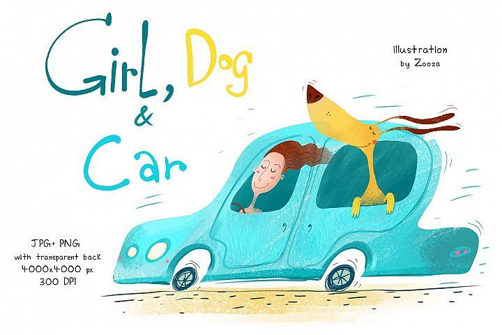 Girl, Dog and Car - illustration