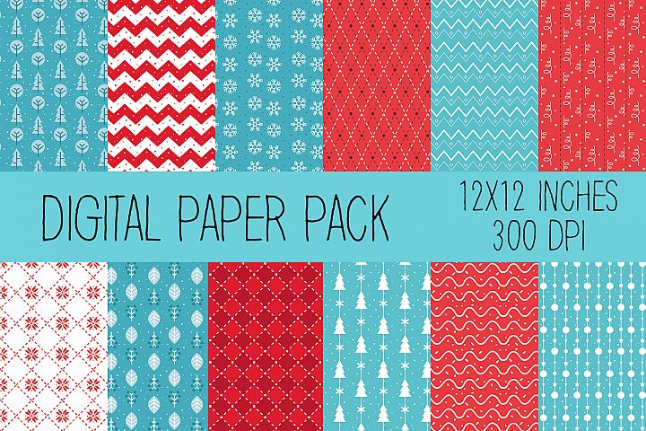 Christmas Digital Paper Blue and Red