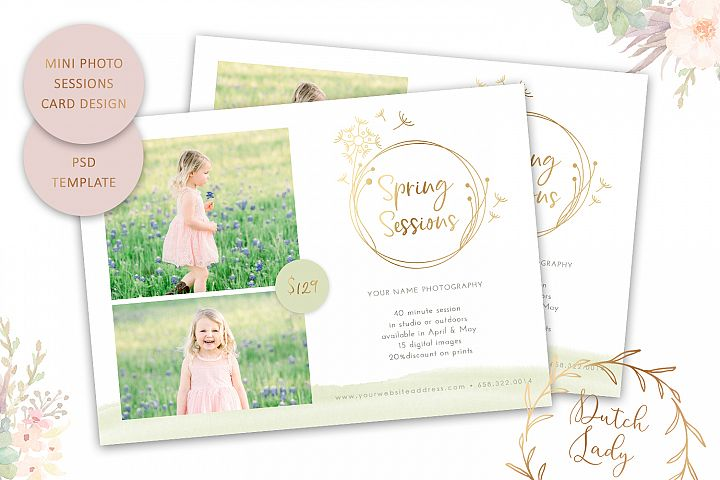PSD Spring Photo Session Card Template - Design #57