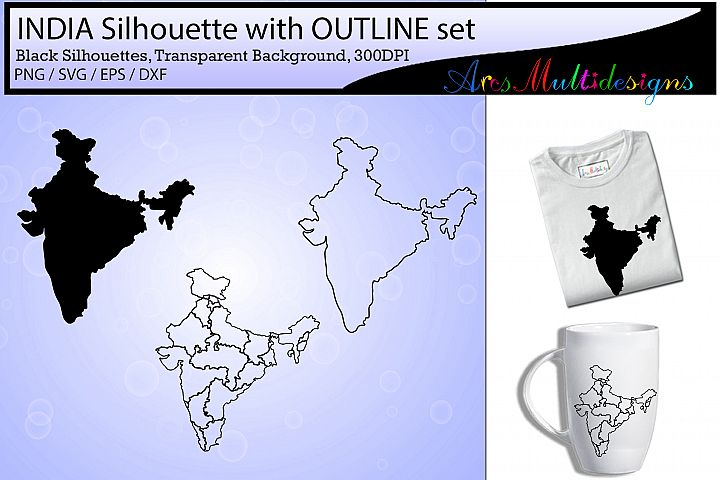 Indian states map outline / india map silhouette / outline