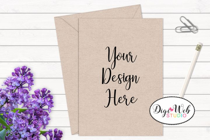 Card / Invitation Mockup - Natural / Minimal w/ Flowers