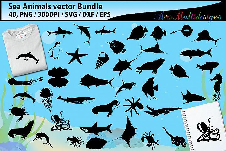 Sea animals svg silhouette bundle / sea animals silhouette