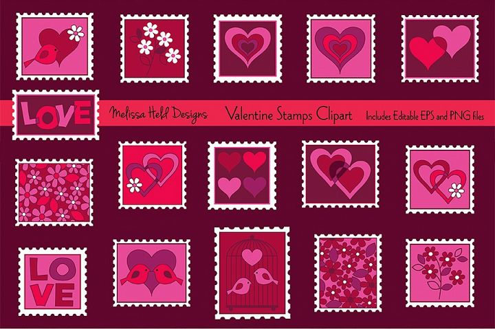 Valentine Stamps Clipart