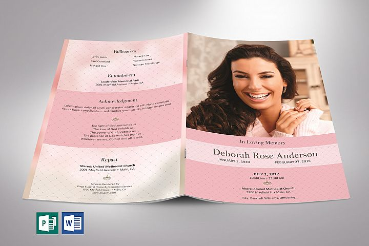 Glamour Funeral Program Word Publisher Template   4 Pages