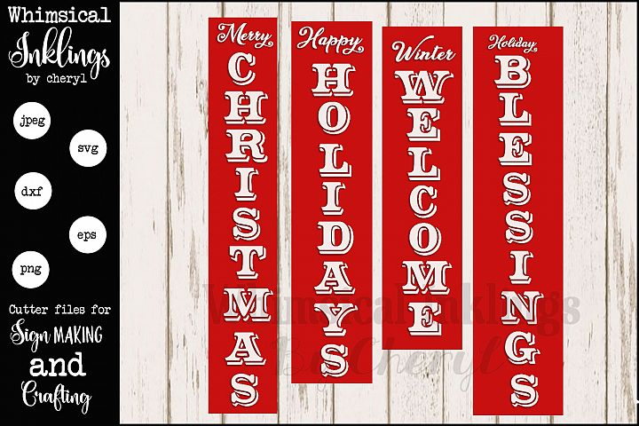 Vertical Christmas Sentiments Mini Bundle SVG
