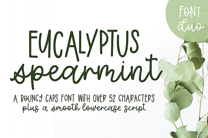 Eucalyptus Spearmint, A Smooth Monoline Font Duo